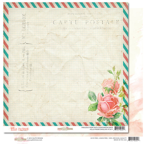 Glitz Design - Hello Friend Collection - 12 x 12 Double Sided Paper - Envelope