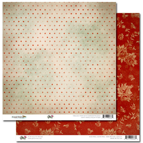 Glitz Design - Happy Travels Collection - 12 x 12 Double Sided Paper - Polka