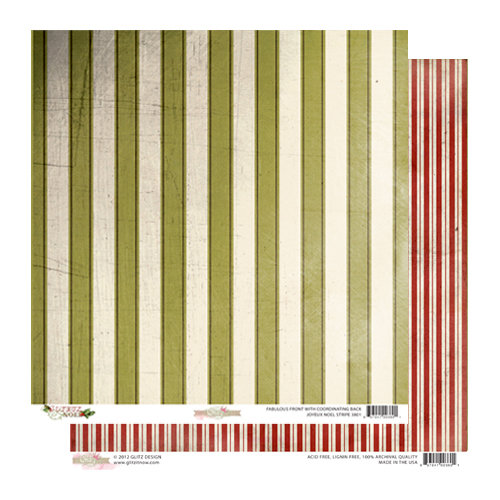 Glitz Design - Joyeux Noel Collection - Christmas - 12 x 12 Double Sided Paper - Stripe