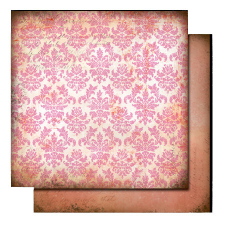 Glitz Design - Love Nest Collection - 12 x 12 Double Sided Paper - Damask, CLEARANCE