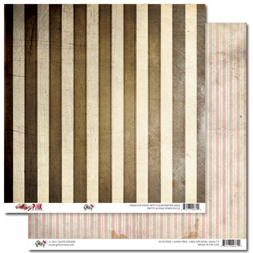 Glitz Design - Pretty in Pink Collection - 12 x 12 Double Sided Paper - Stripe