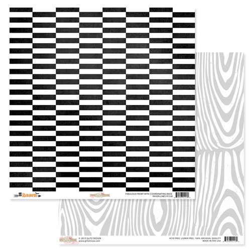 Glitz Design - Raven Collection - Halloween - 12 x 12 Double Sided Paper - Lines