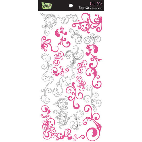 Glitz Designs - Rub Ons - Pink and White Flourish, CLEARANCE