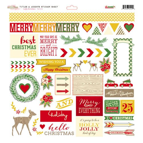 Glitz Design - Hello December Collection - Christmas - 12 x 12 Cardstock Stickers - Titles and Accents