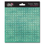 Glitz Design - Cardstock Stickers - Teeny Alphabet - Teal Wood Grain
