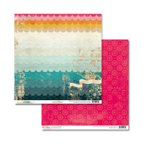 Glitz Design - Uncharted Waters Collection - 12 x 12 Double Sided Paper - Waves