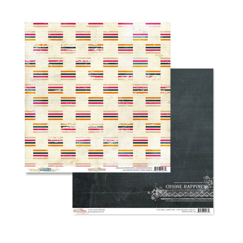 Glitz Design - Uncharted Waters Collection - 12 x 12 Double Sided Paper - Stripe