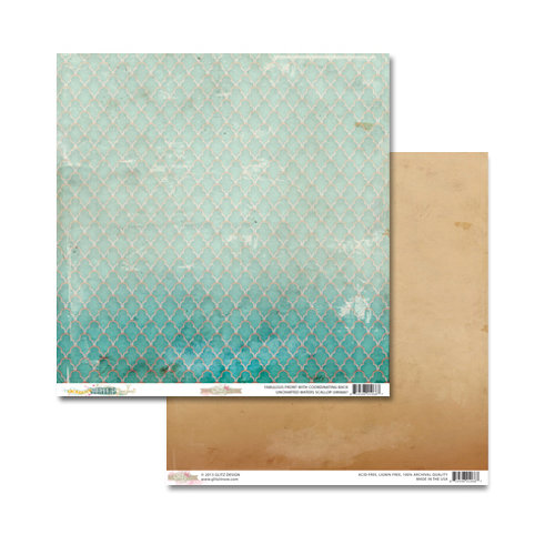 Glitz Design - Unchartered Waters Collection - 12 x 12 Double Sided Paper - Scallop