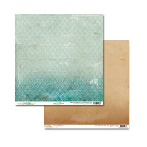 Glitz Design - Uncharted Waters Collection - 12 x 12 Double Sided Paper - Scallop
