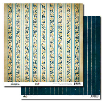 Glitz Design - Vintage Blue Collection - 12 x 12 Double Sided Paper - Stripe