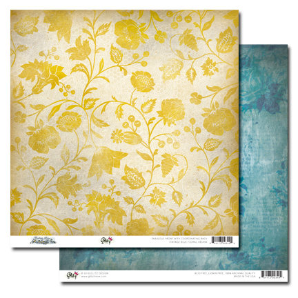 Glitz Design - Vintage Blue Collection - 12 x 12 Double Sided Paper - Floral