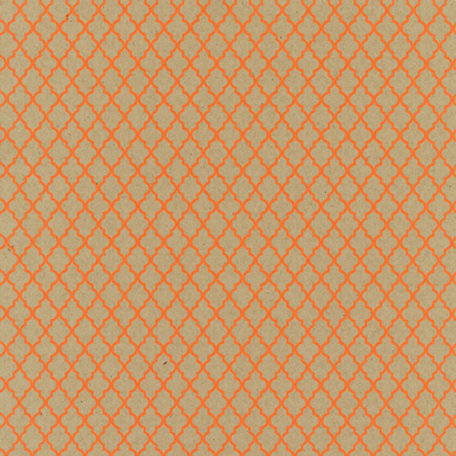 Hambly Studios - Screen Prints - 12 x 12 Paper - Lattice - Coral on Kraft