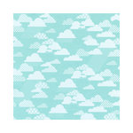 Hambly Studios - Screen Prints - 12 x 12 Paper - Rain Clouds - White on Lagoon Blue