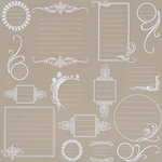 Hambly Studios - Paper - Screen Prints - Journaling Bits - White on Kraft, CLEARANCE
