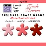 Happy Hammer Bazzill Basics Mini Brads - Fresh Flowers - Reds