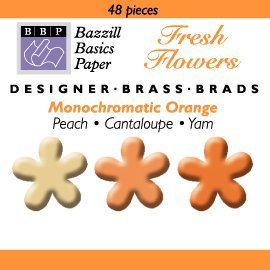 Happy Hammer Bazzill Basics Mini Brads - Fresh Flowers - Oranges