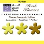 Happy Hammer Bazzill Basics Mini Brads - Fresh Flowers - Yellows, CLEARANCE