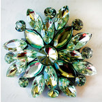Melissa Frances - Vintage Jeweled Brooch - Shamrock Kiss