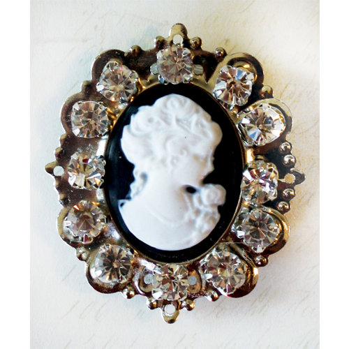 Melissa Frances - Vintage Jeweled Brooch - Crystal Cameo