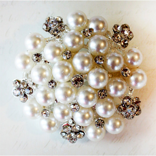 Melissa Frances - Vintage Jeweled Brooch - Perfectly Pearl Cluster