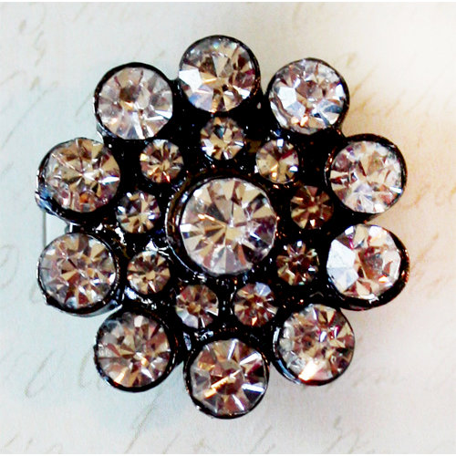 Melissa Frances - Vintage Jeweled Brooch - Black Ice