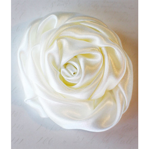 Melissa Frances - Vintage Flower - Cream Satin Twist Rose