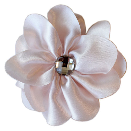 Melissa Frances - Vintage Jeweled Flower - Pink Satin Flower
