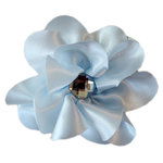 Melissa Frances - Vintage Jeweled Flower - Soft Blue Satin Flower