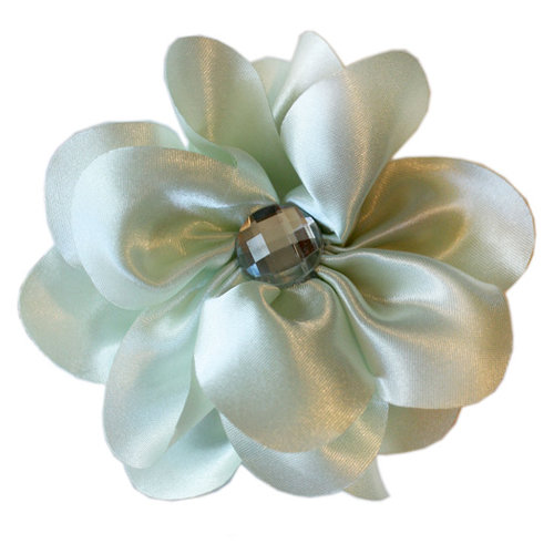 Melissa Frances - Vintage Jeweled Flower - Pale Green Satin Flower