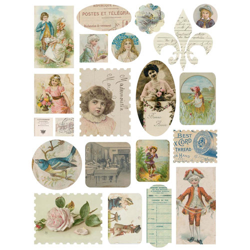 Melissa Frances - Heart and Home - Attic Treasures Collection - Cardstock Stickers - Vintage Ephemera