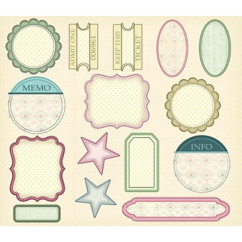 Melissa Frances - Vintage Posey Collection - 12 x 12 Cardstock Die Cuts - Label