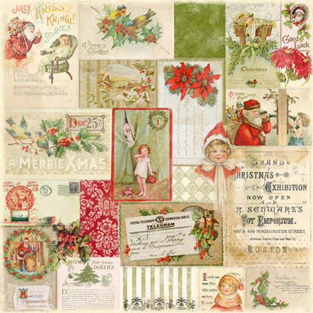 Melissa Frances - Deck the Halls Collection - Christmas - 12 x 12 Paper - A Merry Xmas