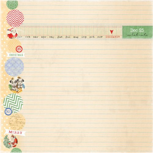 Melissa Frances - Countdown to Christmas Collection - 12 x 12 Paper - Holiday Notes