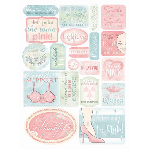 Melissa Frances - Thankful Collection - Cardstock Stickers - Breast Cancer