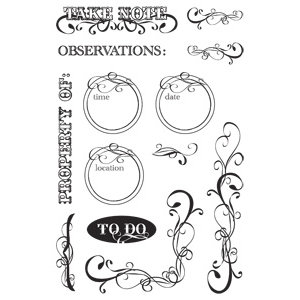 Hampton Art - Post Script Clear Stamps - by Kolette Hall - Dates and Flourishes, CLEARANCE