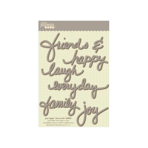 Jillibean Soup - Wise Words - Cardstock Stickers - Happy - Gray