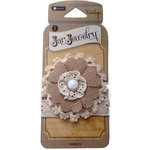Hampton Art - Jar Jewelry Collection - Burlap Lace Flower Tie