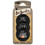 Hampton Art - Jar Jewelry Collection - Printed Jar Lids - Chalkboard - Love and Flower
