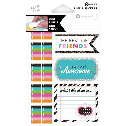 KI Memories - Mini Celebrations Collection - Ruffles - Layered and Stitched Cardstock Stickers - Best Friends