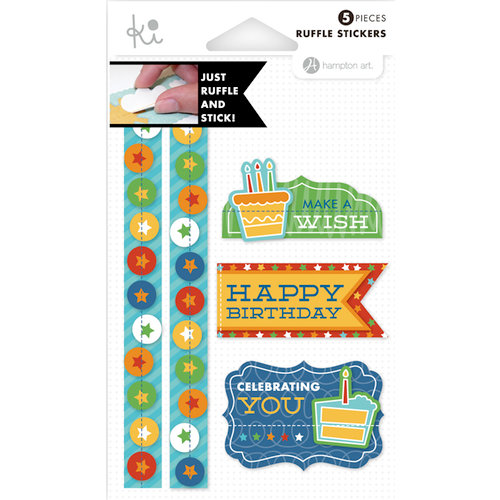KI Memories - Mini Celebrations Collection - Ruffles - Layered and Stitched Cardstock Stickers - Happy Birthday