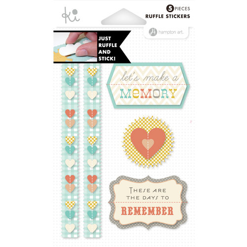 KI Memories - Mini Celebrations Collection - Ruffles - Layered and Stitched Cardstock Stickers - Remember