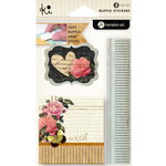 KI Memories - Vintage Charm Collection - Ruffles - Layered and Stitched Cardstock Stickers - Wish