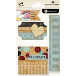 KI Memories - Vintage Charm Collection - Ruffles - Layered and Stitched Cardstock Stickers - Celebrate