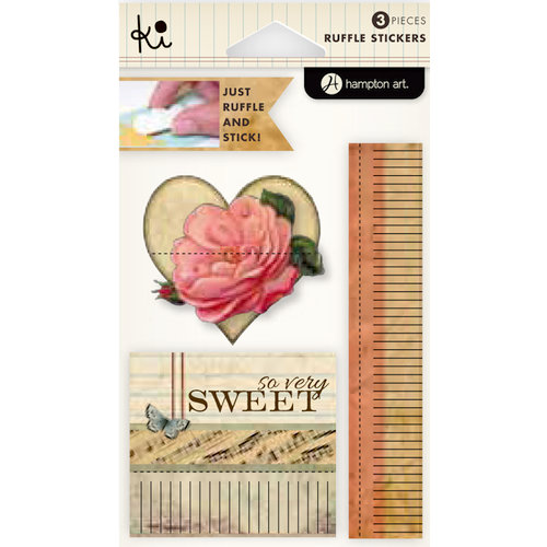 KI Memories - Vintage Charm Collection - Ruffles - Layered and Stitched Cardstock Stickers - So Very Sweet
