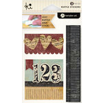 KI Memories - Vintage Charm Collection - Ruffles - Layered and Stitched Cardstock Stickers - Numbers