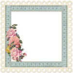 KI Memories - Vintage Charm Collection - 12 x 12 Die Cut Lace Paper - Framed Roses