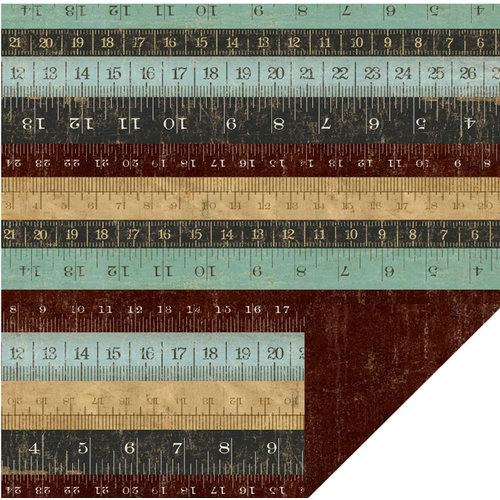 KI Memories - Vintage Charm Collection - 12 x 12 Double Sided Paper - Rulers
