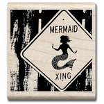 Hampton Art - Art Etc - Wood Mounted Stamp - Mermaid Crossing