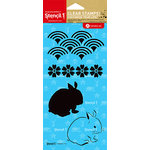 Hampton Art - Stencil 1 - Clear Acrylic Stamps - Asian Bunny Pattern