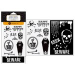 Hampton Art - Halloween Collection - Clear Acrylic Stamps and Stencil - Beware